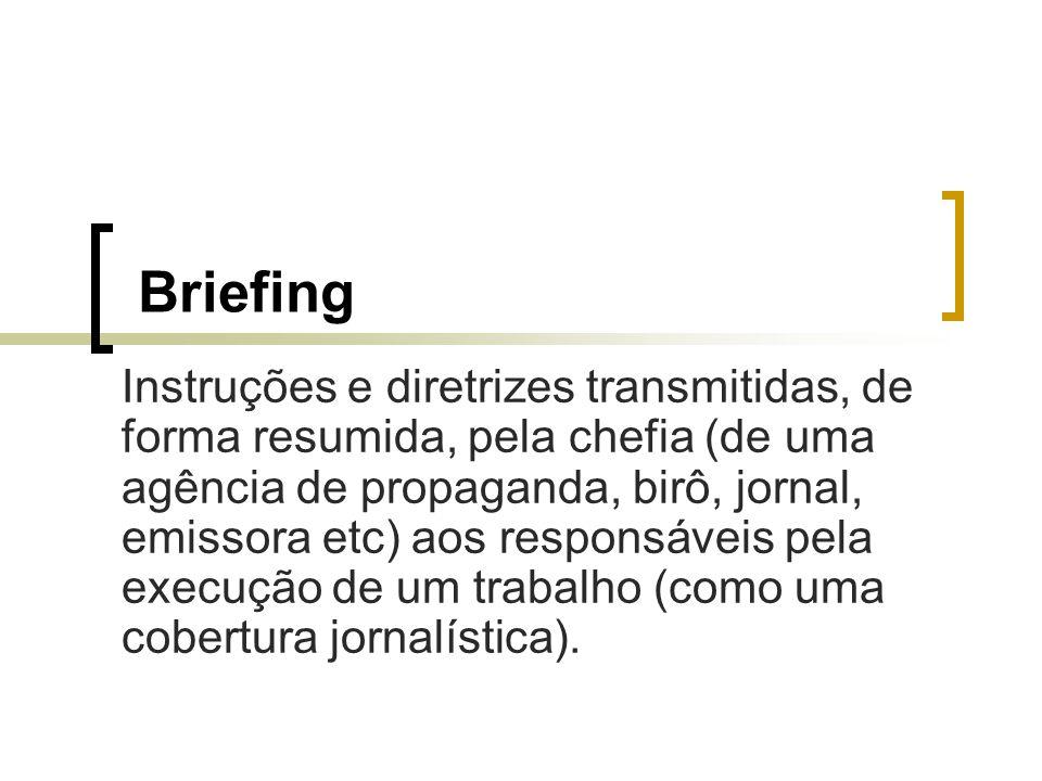 Briefing Instruções e diretrizes transmitidas, de forma resumida, pela chefia (de uma agência de propaganda, birô, jornal, emissora etc) aos responsáv