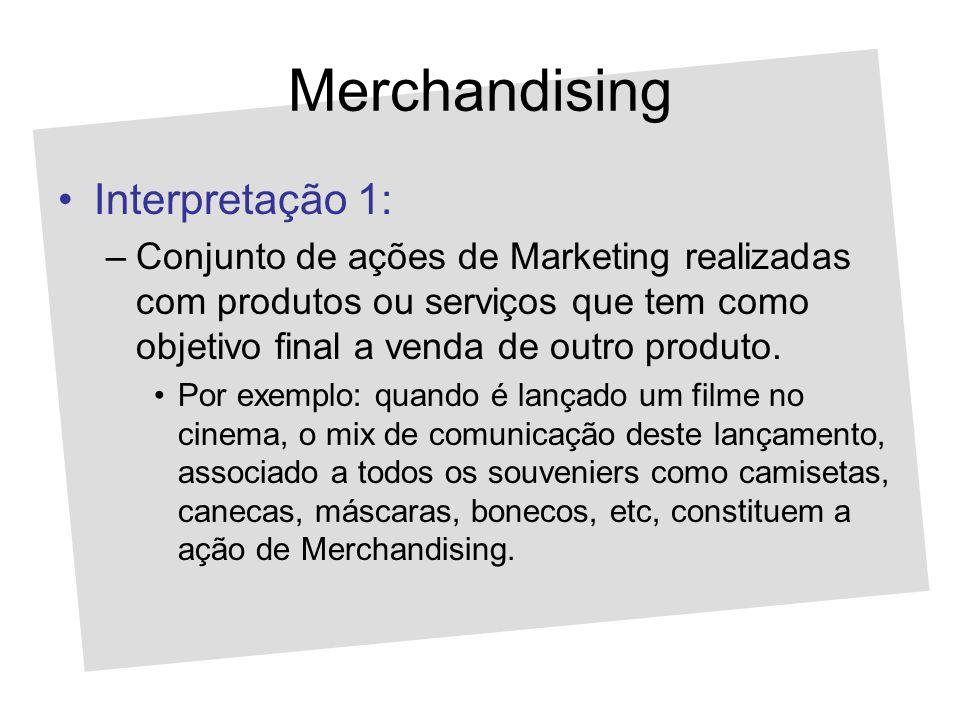 Merchandising Interpretação 1: –Conjunto de ações de Marketing realizadas com produtos ou serviços que tem como objetivo final a venda de outro produt