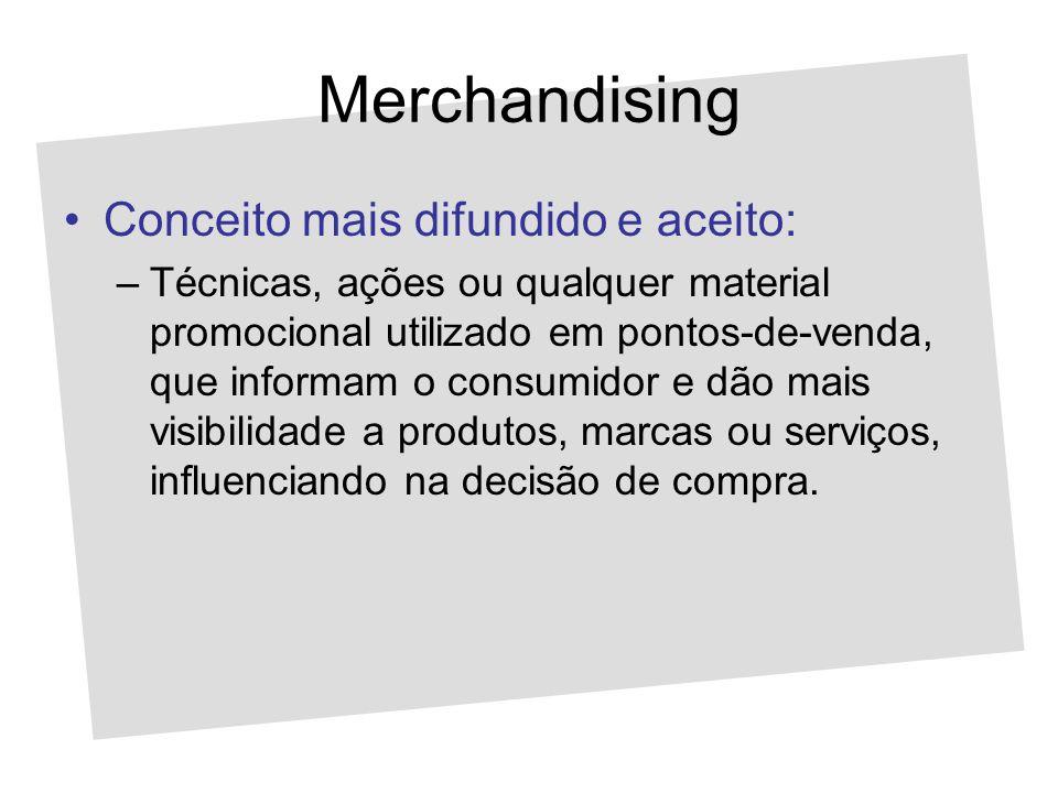 Merchandising Conceito mais difundido e aceito: –Técnicas, ações ou qualquer material promocional utilizado em pontos-de-venda, que informam o consumi