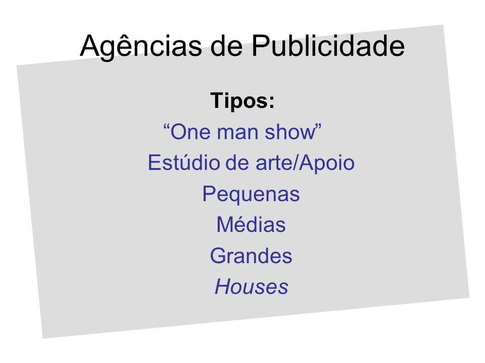 Agências de Publicidade Tipos: One man show Estúdio de arte/Apoio Pequenas Médias Grandes Houses