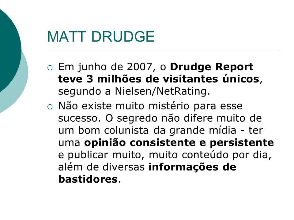 MATT DRUDGE Em junho de 2007, o Drudge Report teve 3 milhões de visitantes únicos, segundo a Nielsen/NetRating.