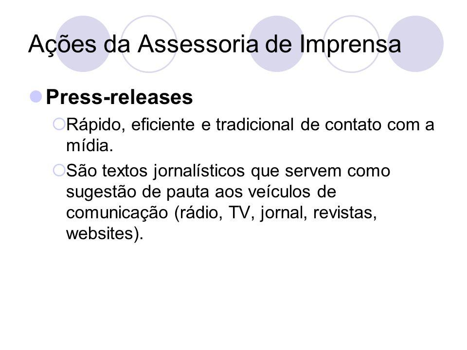 Ações da Assessoria de Imprensa Press-releases Rápido, eficiente e tradicional de contato com a mídia. São textos jornalísticos que servem como sugest