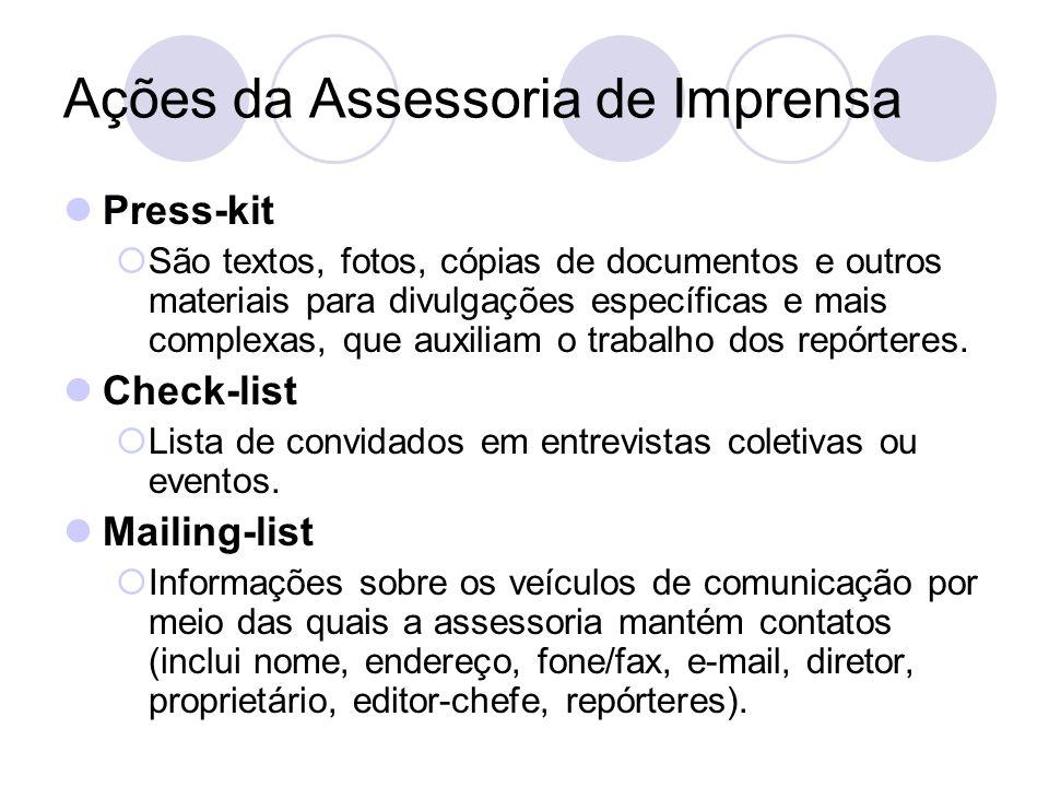 Ações da Assessoria de Imprensa Press-kit São textos, fotos, cópias de documentos e outros materiais para divulgações específicas e mais complexas, qu