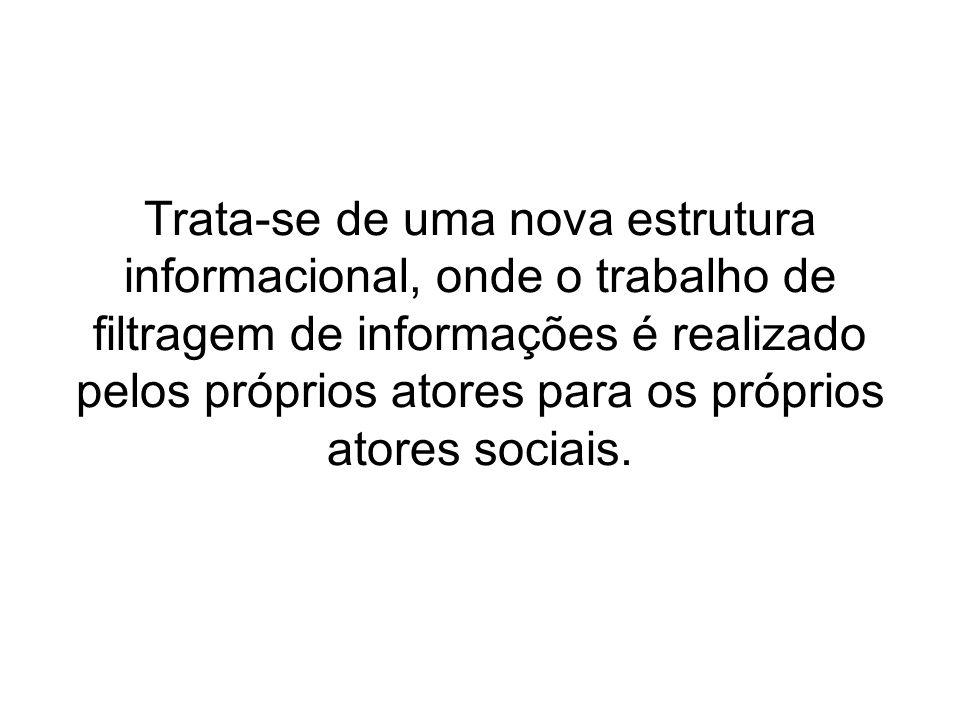 Trata-se de uma nova estrutura informacional, onde o trabalho de filtragem de informações é realizado pelos próprios atores para os próprios atores sociais.