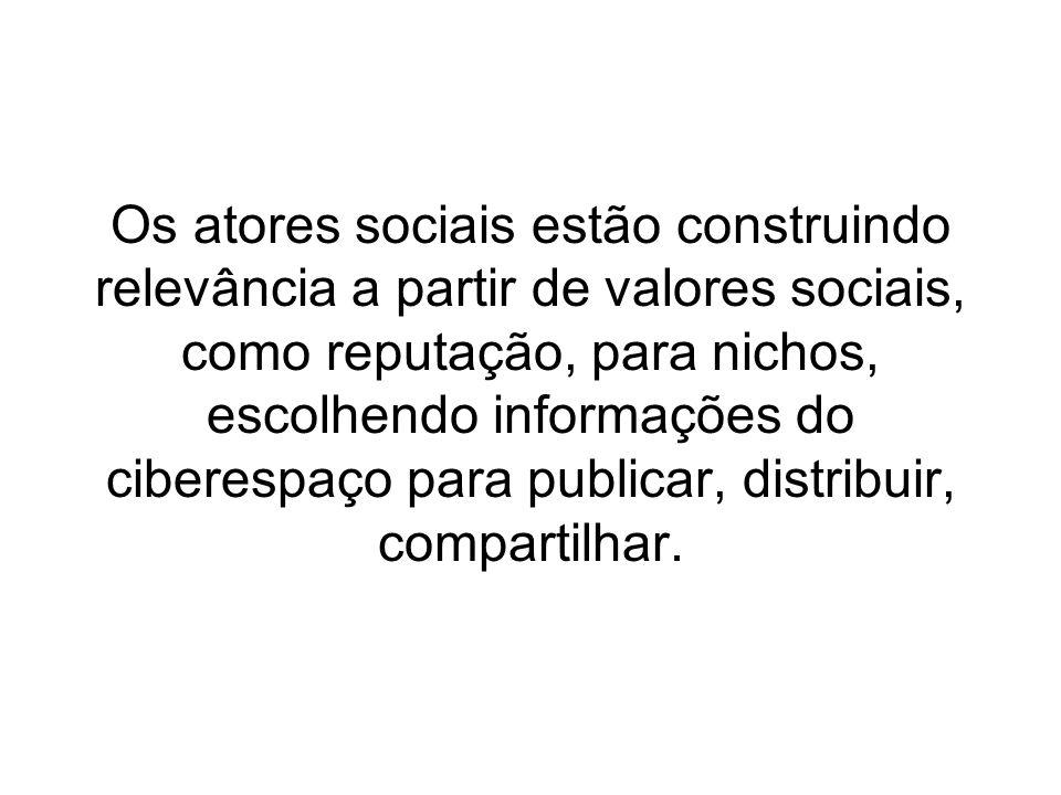 Os atores sociais estão construindo relevância a partir de valores sociais, como reputação, para nichos, escolhendo informações do ciberespaço para publicar, distribuir, compartilhar.