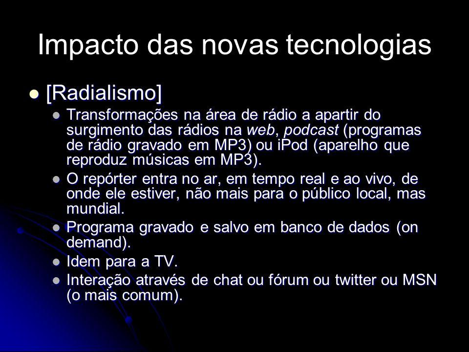 Impacto das novas tecnologias [Radialismo] [Radialismo] Transformações na área de rádio a apartir do surgimento das rádios na web, podcast (programas