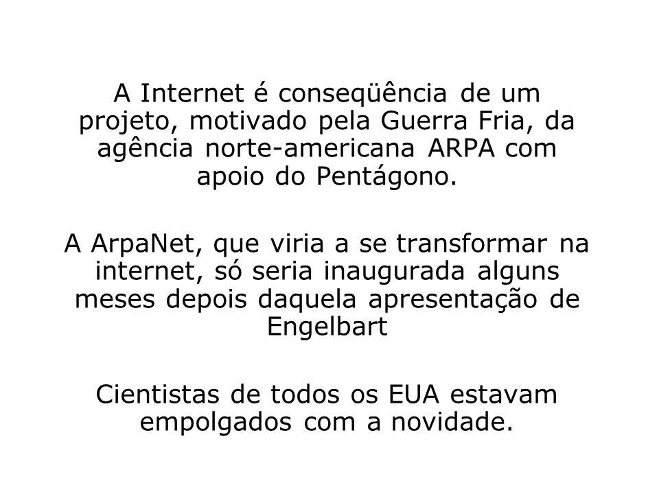 A Internet é conseqüência de um projeto, motivado pela Guerra Fria, da agência norte-americana ARPA com apoio do Pentágono. A ArpaNet, que viria a se