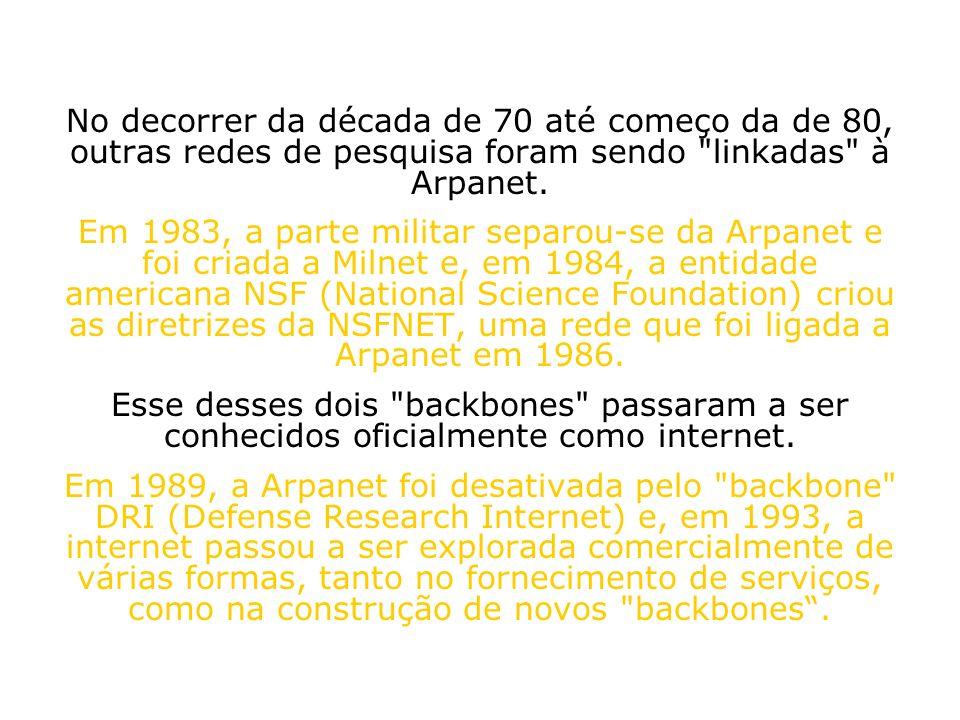 No decorrer da década de 70 até começo da de 80, outras redes de pesquisa foram sendo