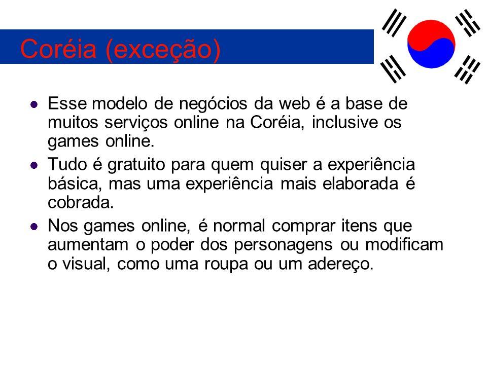 Esse modelo de negócios da web é a base de muitos serviços online na Coréia, inclusive os games online. Tudo é gratuito para quem quiser a experiência