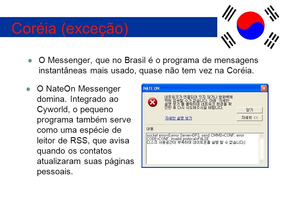O Messenger, que no Brasil é o programa de mensagens instantâneas mais usado, quase não tem vez na Coréia. Coréia (exceção) O NateOn Messenger domina.