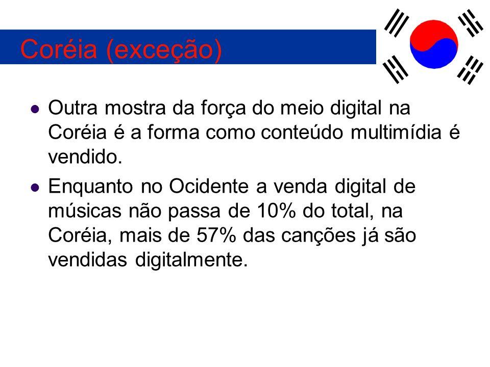 Outra mostra da força do meio digital na Coréia é a forma como conteúdo multimídia é vendido. Enquanto no Ocidente a venda digital de músicas não pass