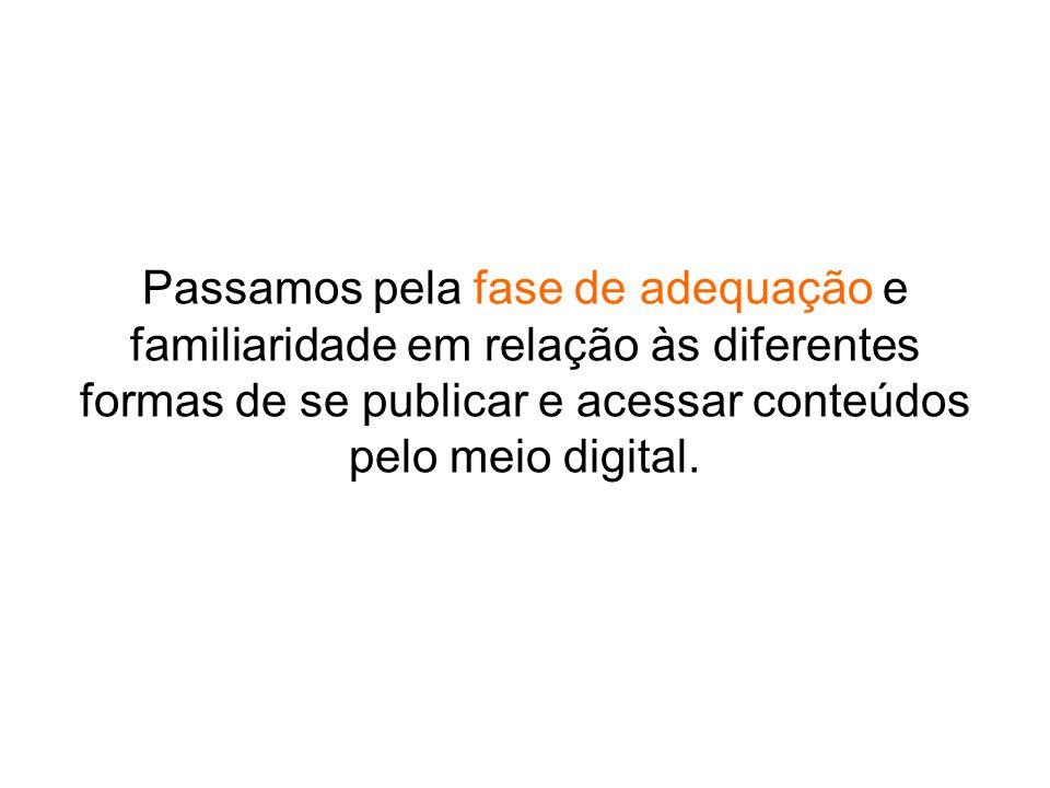 Passamos pela fase de adequação e familiaridade em relação às diferentes formas de se publicar e acessar conteúdos pelo meio digital.