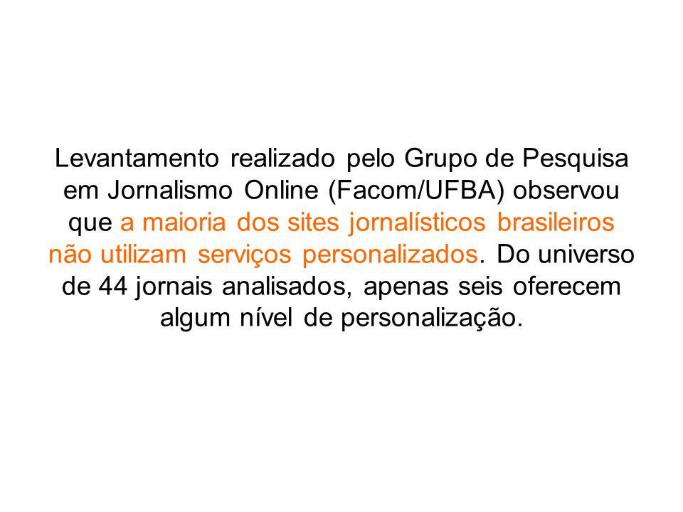 Levantamento realizado pelo Grupo de Pesquisa em Jornalismo Online (Facom/UFBA) observou que a maioria dos sites jornalísticos brasileiros não utiliza