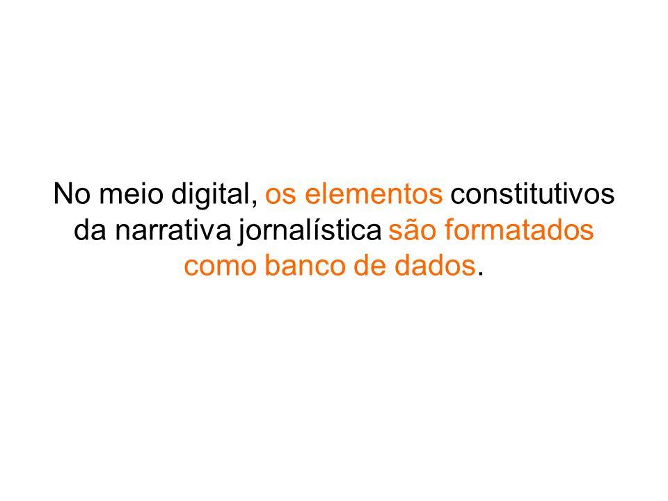 No meio digital, os elementos constitutivos da narrativa jornalística são formatados como banco de dados.