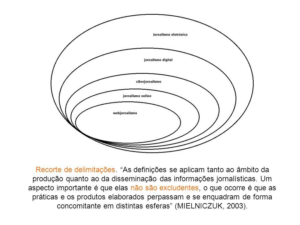 Recorte de delimitações. As definições se aplicam tanto ao âmbito da produção quanto ao da disseminação das informações jornalísticas. Um aspecto impo