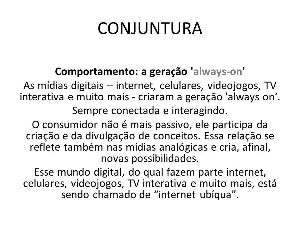 Comportamento: a geração 'always-on' As mídias digitais – internet, celulares, videojogos, TV interativa e muito mais - criaram a geração 'always on.