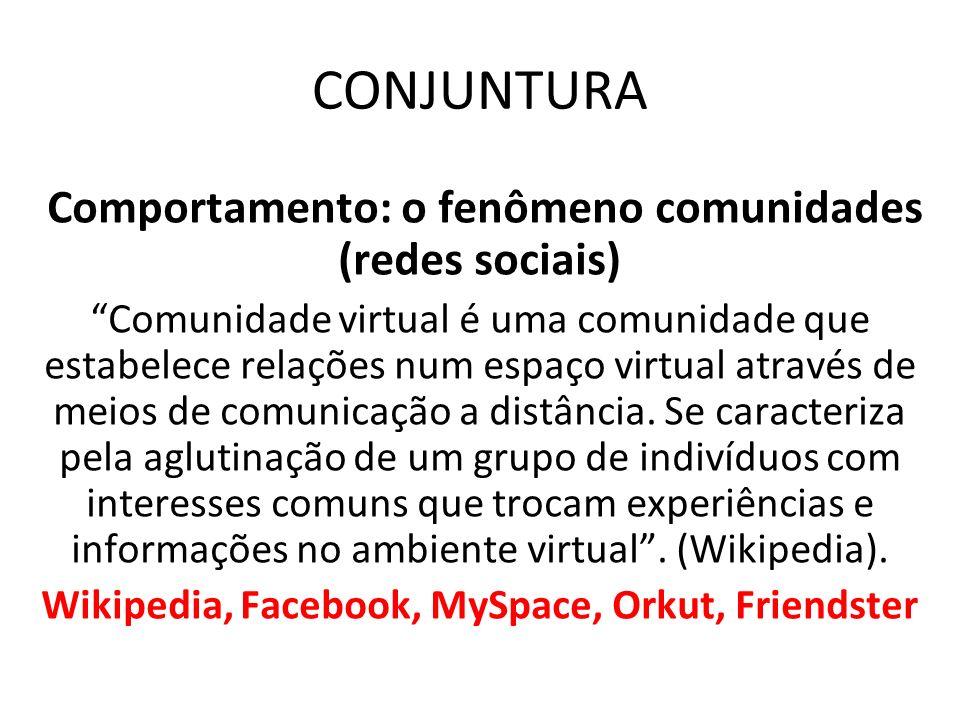 CONJUNTURA Comportamento: o fenômeno comunidades (redes sociais) Comunidade virtual é uma comunidade que estabelece relações num espaço virtual atravé