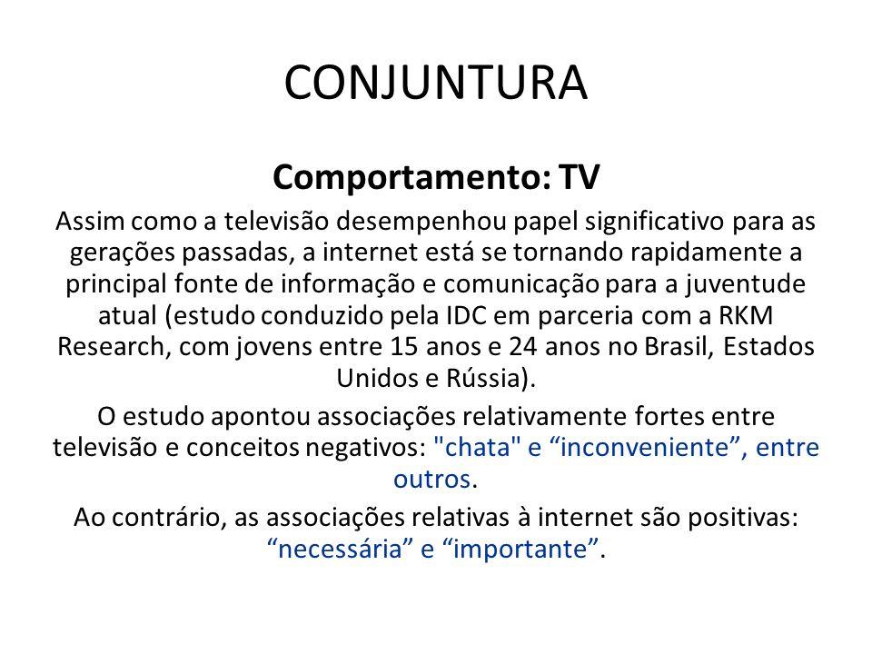 CONJUNTURA Comportamento: TV Assim como a televisão desempenhou papel significativo para as gerações passadas, a internet está se tornando rapidamente