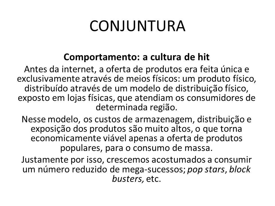CONJUNTURA Comportamento: a cultura de hit Antes da internet, a oferta de produtos era feita única e exclusivamente através de meios físicos: um produ