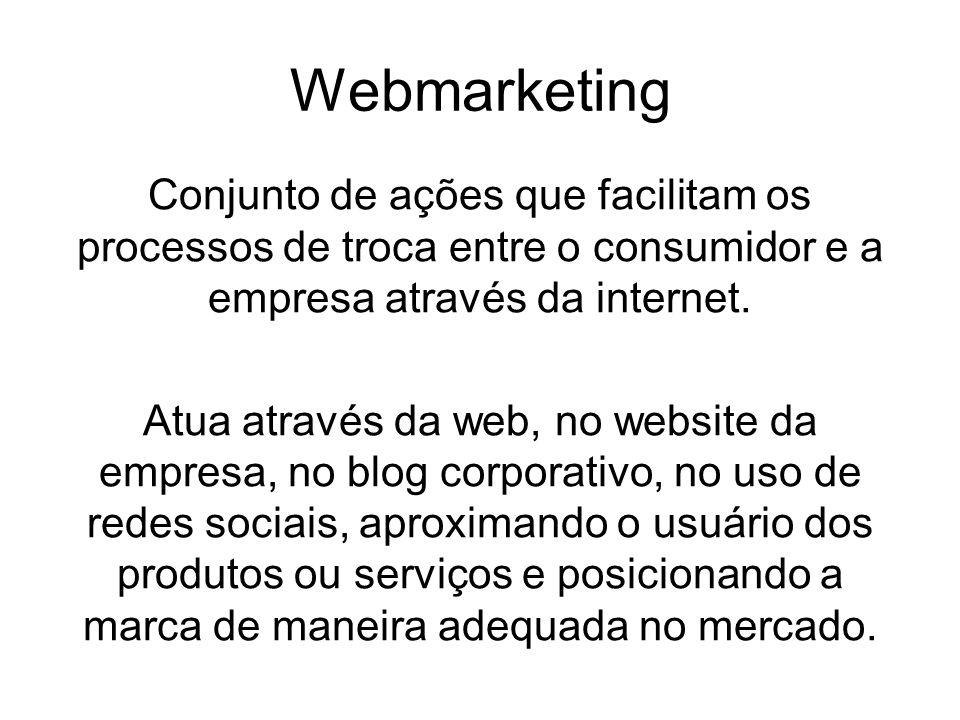 Webmarketing Conjunto de ações que facilitam os processos de troca entre o consumidor e a empresa através da internet. Atua através da web, no website