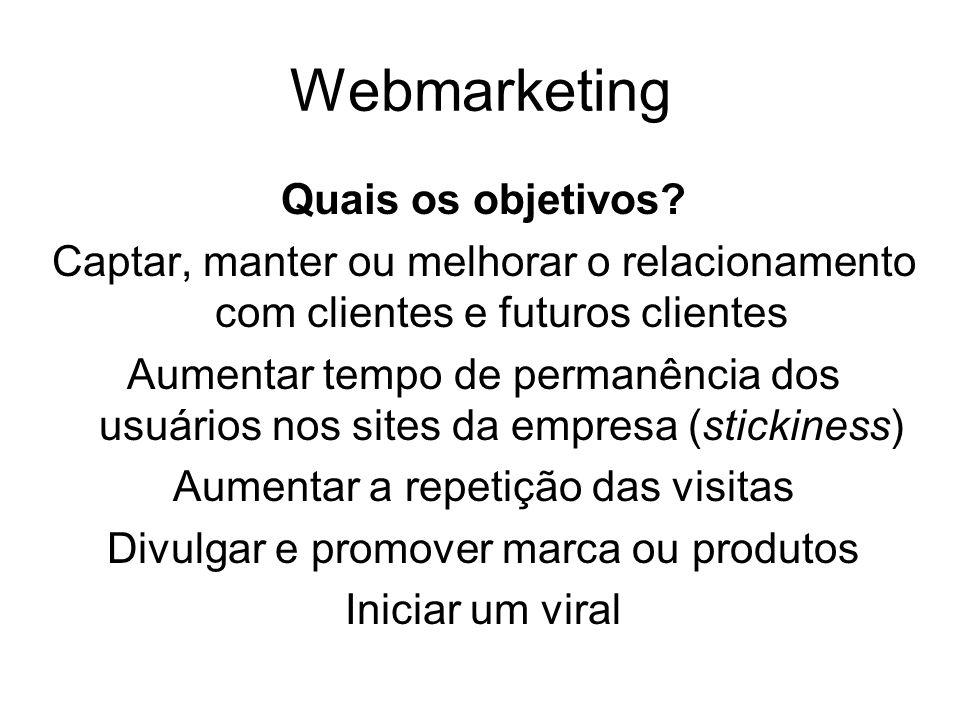 Webmarketing Quais os objetivos? Captar, manter ou melhorar o relacionamento com clientes e futuros clientes Aumentar tempo de permanência dos usuário