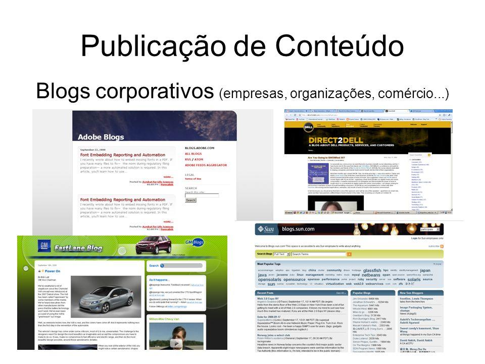 Publicação de Conteúdo Blogs corporativos (empresas, organizações, comércio...)
