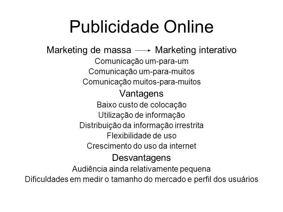 Publicidade Online Marketing de massa Marketing interativo Comunicação um-para-um Comunicação um-para-muitos Comunicação muitos-para-muitos Vantagens
