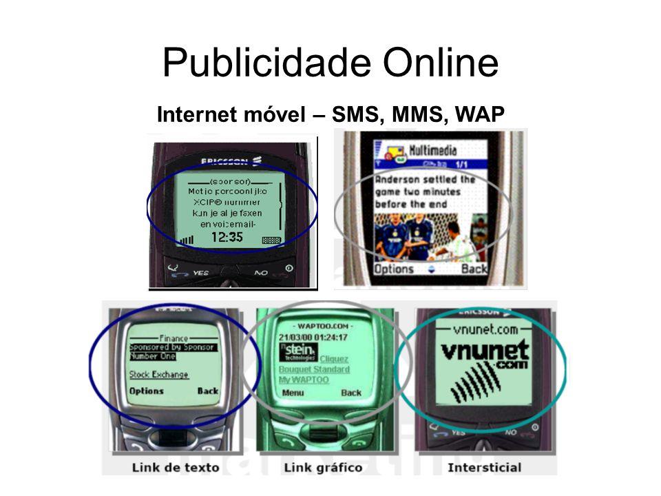 Publicidade Online Internet móvel – SMS, MMS, WAP