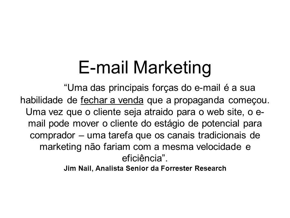 E-mail Marketing Uma das principais forças do e-mail é a sua habilidade de fechar a venda que a propaganda começou. Uma vez que o cliente seja atraido
