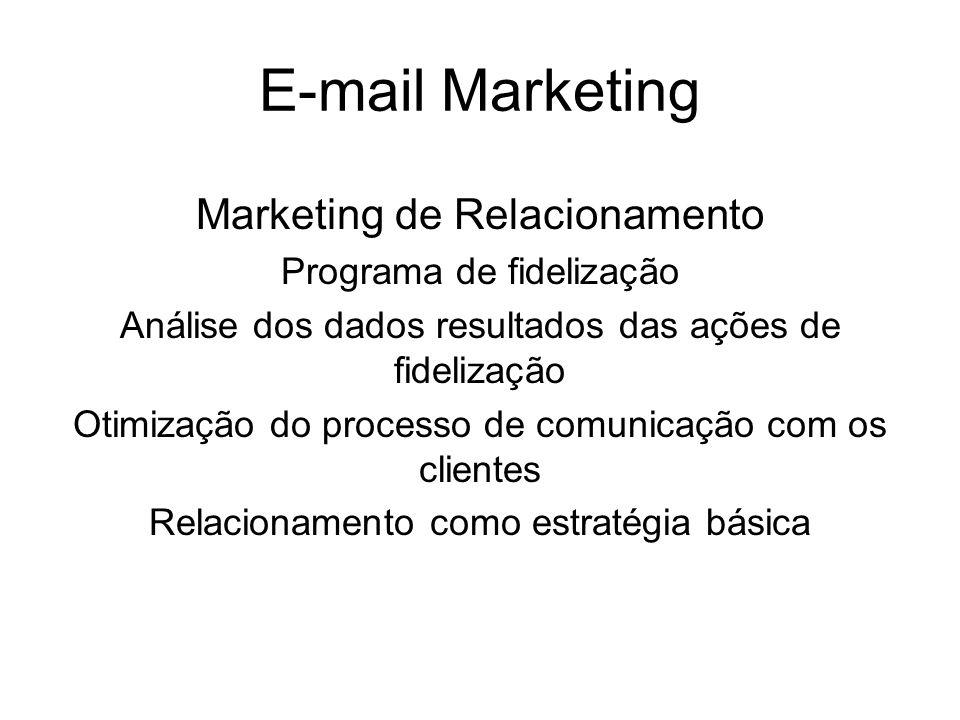 E-mail Marketing Marketing de Relacionamento Programa de fidelização Análise dos dados resultados das ações de fidelização Otimização do processo de c