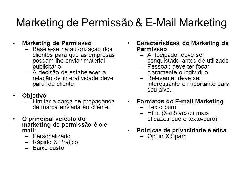 Marketing de Permissão & E-Mail Marketing Marketing de Permissão –Baseia-se na autorização dos clientes para que as empresas possam lhe enviar materia