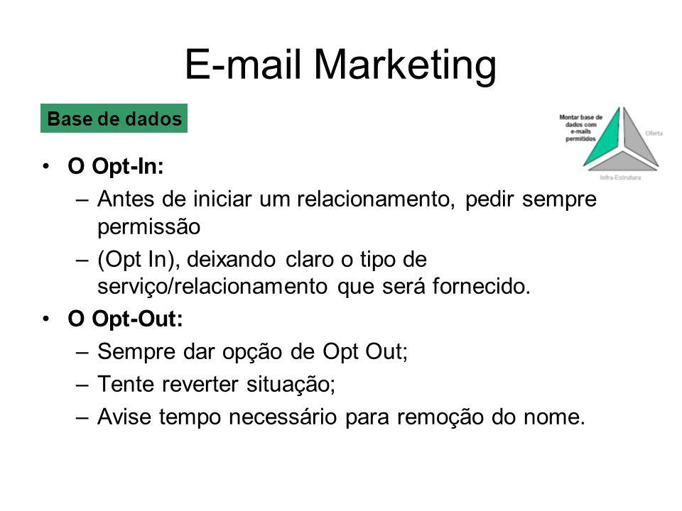 E-mail Marketing O Opt-In: –Antes de iniciar um relacionamento, pedir sempre permissão –(Opt In), deixando claro o tipo de serviço/relacionamento que