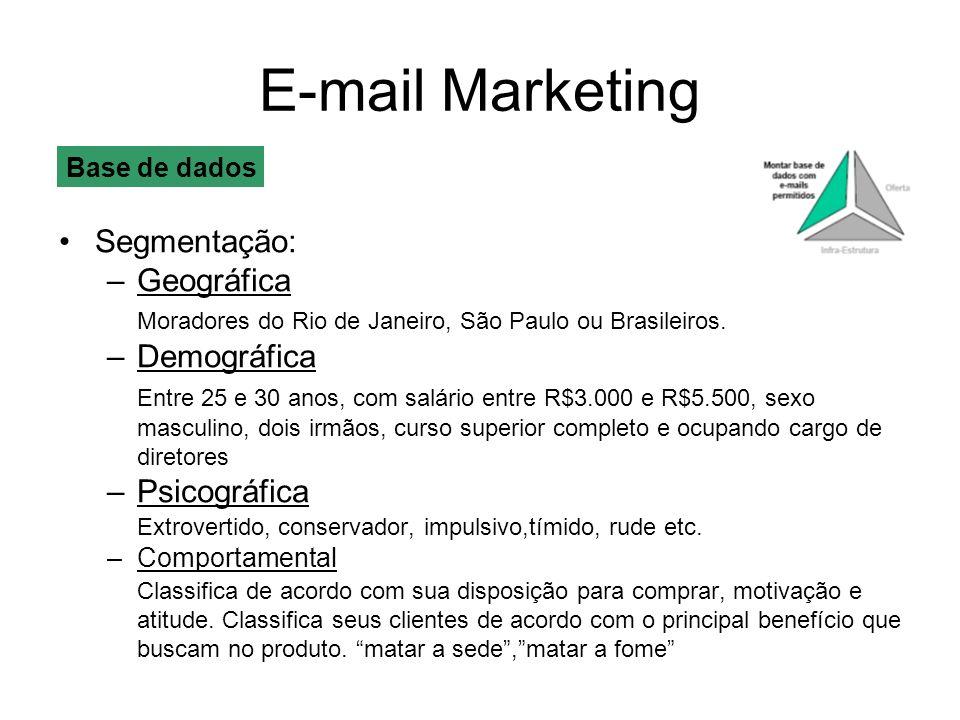 E-mail Marketing Segmentação: –Geográfica Moradores do Rio de Janeiro, São Paulo ou Brasileiros. –Demográfica Entre 25 e 30 anos, com salário entre R$