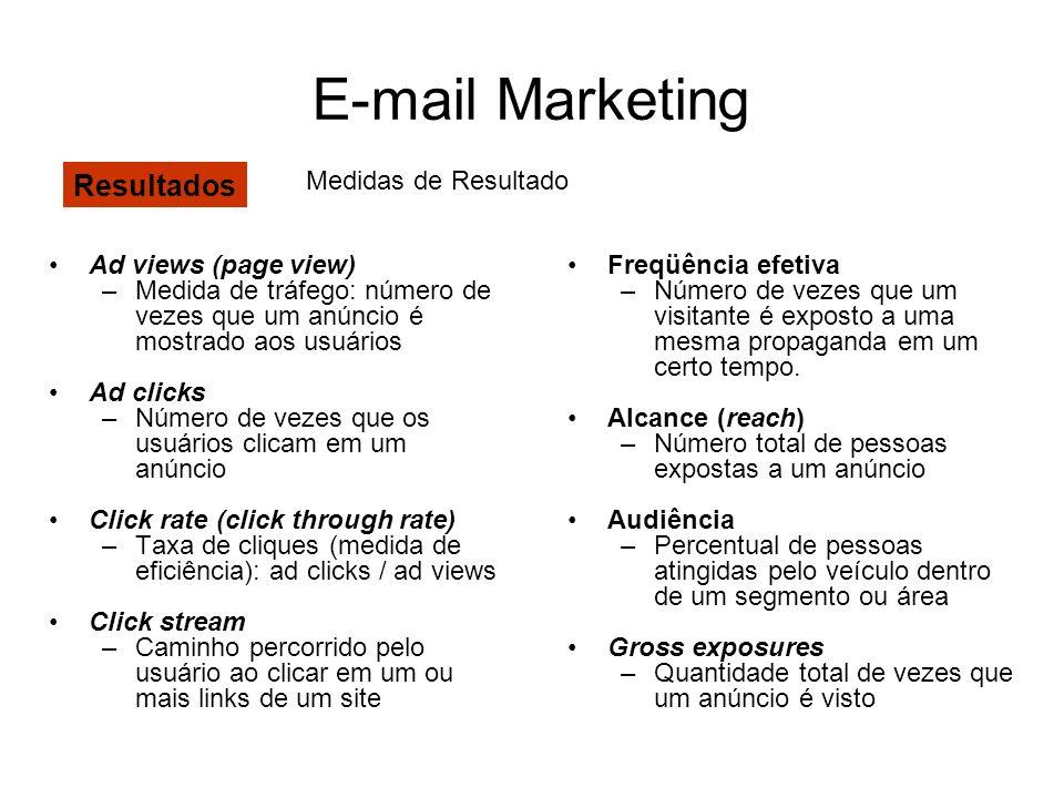 E-mail Marketing Ad views (page view) –Medida de tráfego: número de vezes que um anúncio é mostrado aos usuários Ad clicks –Número de vezes que os usu