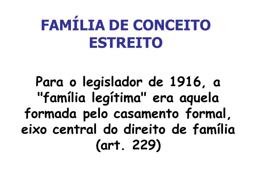 FAMÍLIA DE CONCEITO ESTREITO Para o legislador de 1916, a