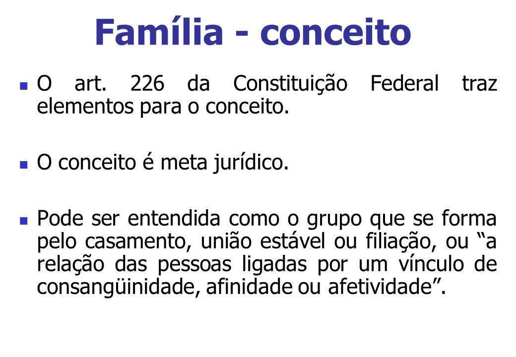 Família - conceito O art. 226 da Constituição Federal traz elementos para o conceito. O conceito é meta jurídico. Pode ser entendida como o grupo que