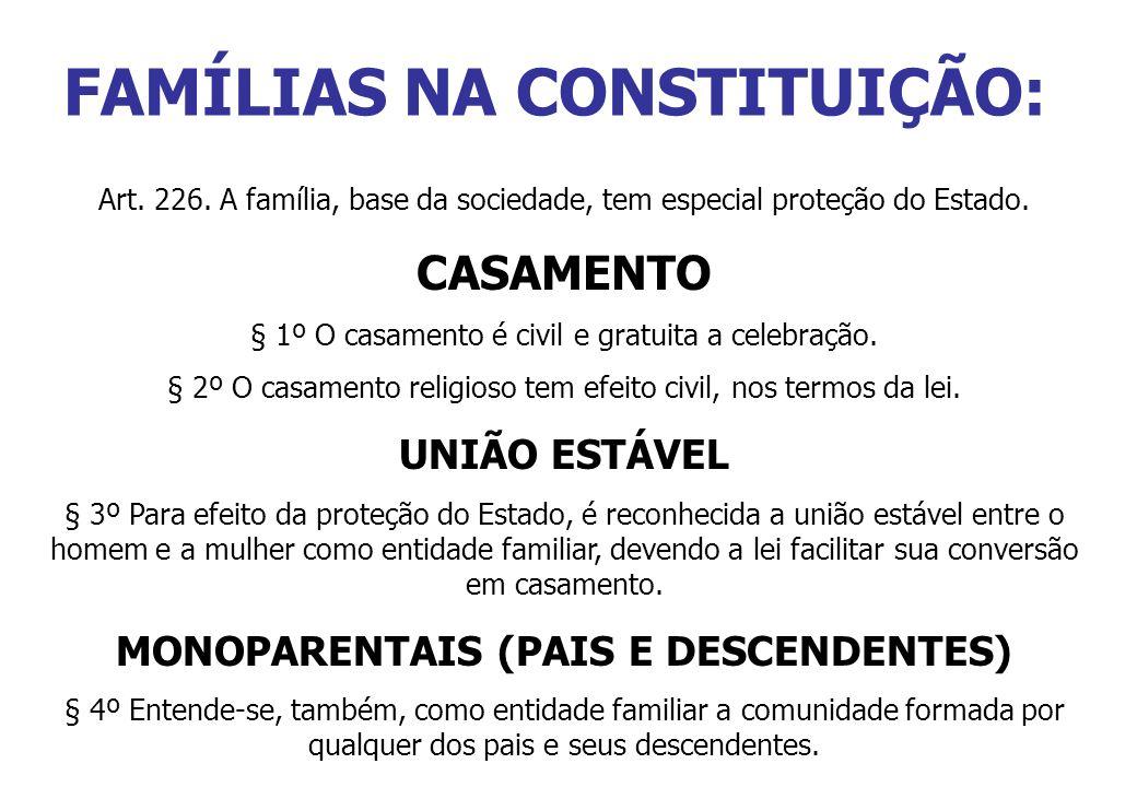 FAMÍLIAS NA CONSTITUIÇÃO: Art. 226. A família, base da sociedade, tem especial proteção do Estado. CASAMENTO § 1º O casamento é civil e gratuita a cel
