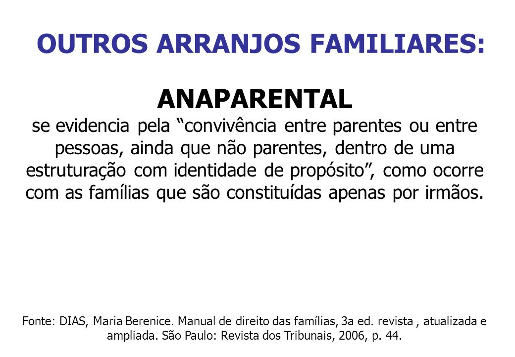 OUTROS ARRANJOS FAMILIARES: ANAPARENTAL se evidencia pela convivência entre parentes ou entre pessoas, ainda que não parentes, dentro de uma estrutura