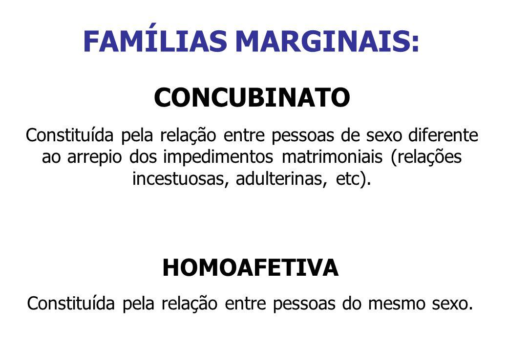 FAMÍLIAS MARGINAIS: CONCUBINATO Constituída pela relação entre pessoas de sexo diferente ao arrepio dos impedimentos matrimoniais (relações incestuosa
