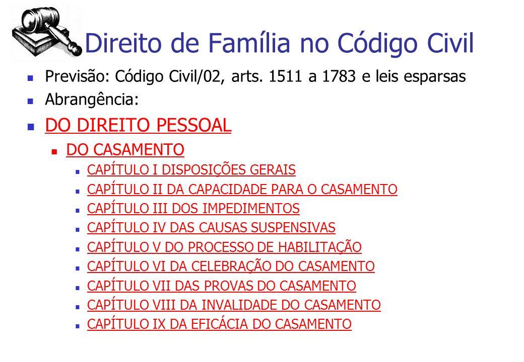 Direito de Família no Código Civil Previsão: Código Civil/02, arts. 1511 a 1783 e leis esparsas Abrangência: DO DIREITO PESSOAL DO CASAMENTO CAPÍTULO