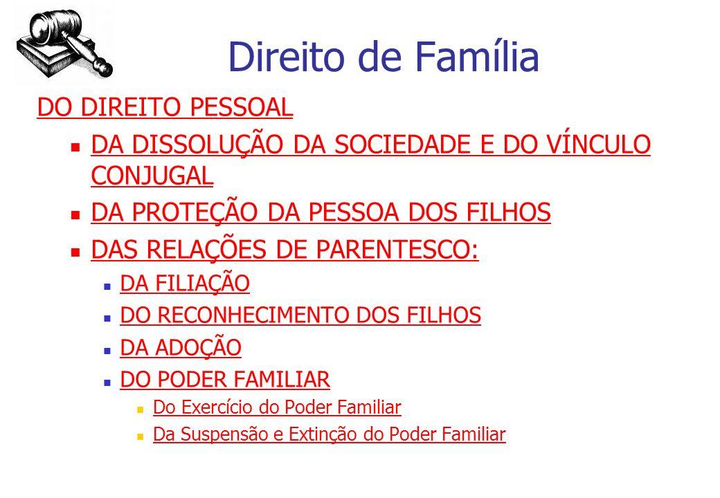 Direito de Família DO DIREITO PESSOAL DA DISSOLUÇÃO DA SOCIEDADE E DO VÍNCULO CONJUGAL DA DISSOLUÇÃO DA SOCIEDADE E DO VÍNCULO CONJUGAL DA PROTEÇÃO DA