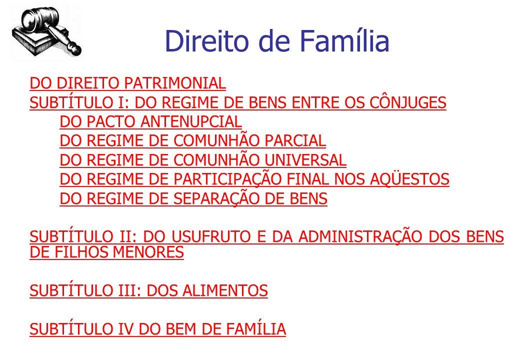Direito de Família DO DIREITO PATRIMONIAL SUBTÍTULO I: DO REGIME DE BENS ENTRE OS CÔNJUGES DO PACTO ANTENUPCIAL DO REGIME DE COMUNHÃO PARCIAL DO REGIM