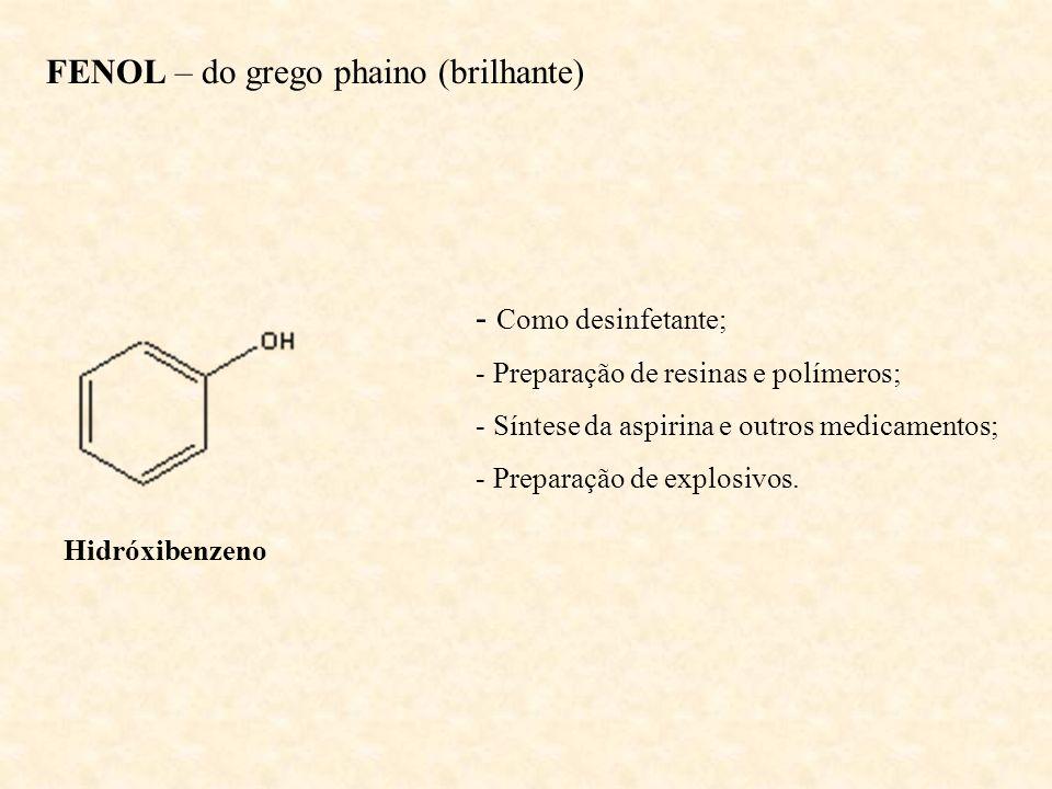 FENOL – do grego phaino (brilhante) Hidróxibenzeno - Como desinfetante; - Preparação de resinas e polímeros; - Síntese da aspirina e outros medicament