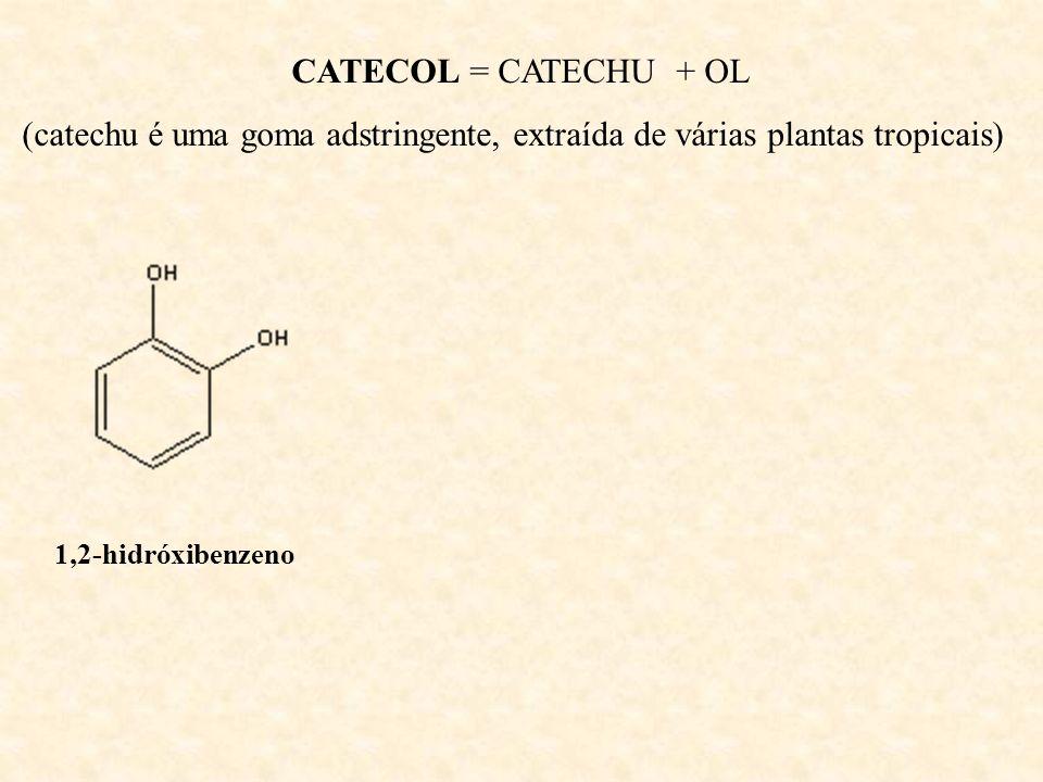 RESORCINOL = ORCINOL + RESINA - Utilizado como corante violeta; - Utilizado na produção de corantes; - Forma resinas com hidróxido de potássio.