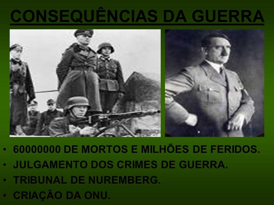 CONSEQUÊNCIAS DA GUERRA 60000000 DE MORTOS E MILHÕES DE FERIDOS. JULGAMENTO DOS CRIMES DE GUERRA. TRIBUNAL DE NUREMBERG. CRIAÇÃO DA ONU.