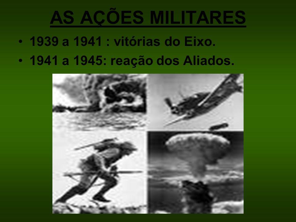 AS AÇÕES MILITARES 1939 a 1941 : vitórias do Eixo. 1941 a 1945: reação dos Aliados.
