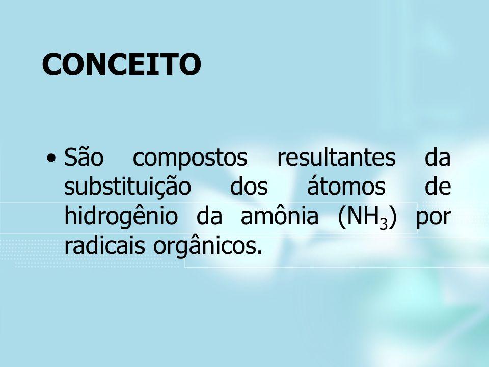 CONCEITO São compostos resultantes da substituição dos átomos de hidrogênio da amônia (NH 3 ) por radicais orgânicos.
