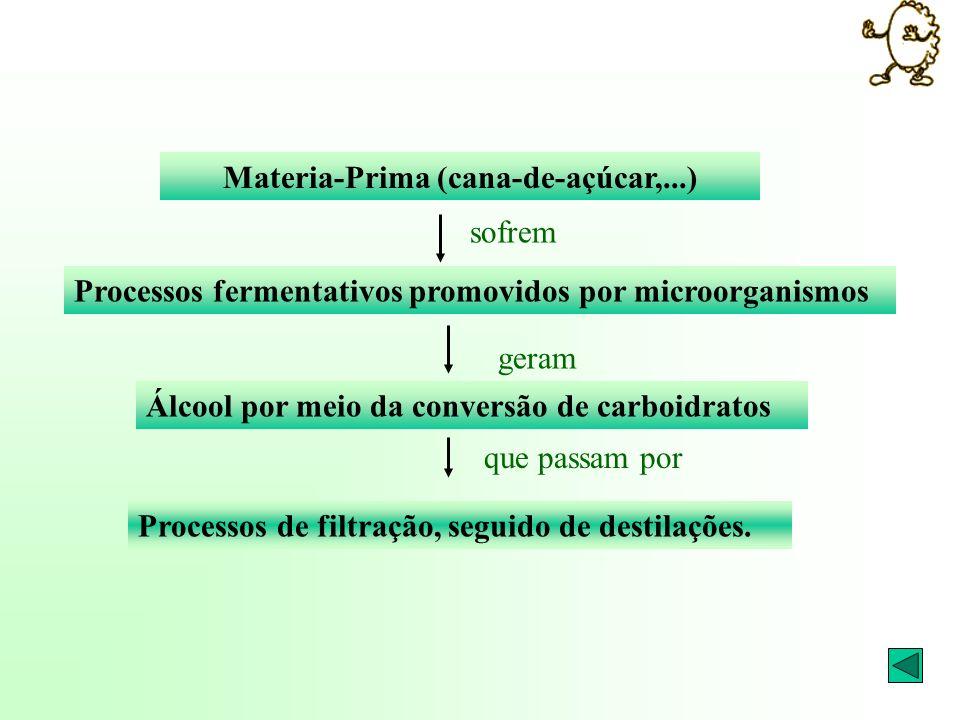 Materia-Prima (cana-de-açúcar,...) sofrem Processos fermentativos promovidos por microorganismos geram Álcool por meio da conversão de carboidratos Pr