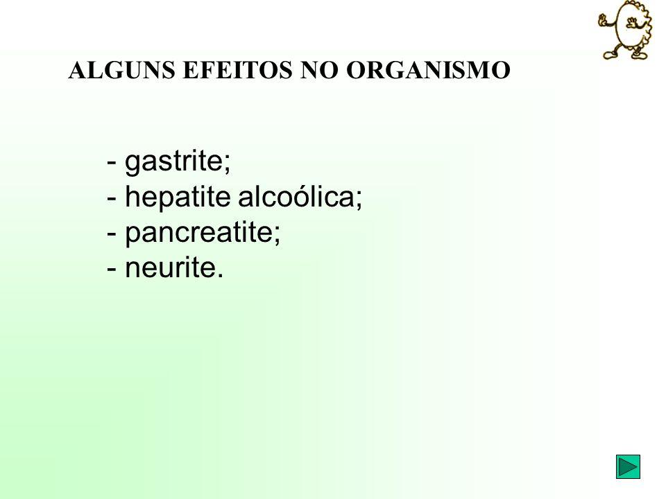 - gastrite; - hepatite alcoólica; - pancreatite; - neurite. ALGUNS EFEITOS NO ORGANISMO