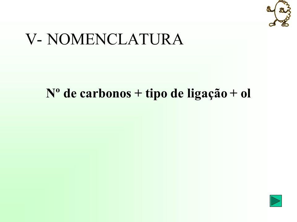 V- NOMENCLATURA Nº de carbonos + tipo de ligação + ol
